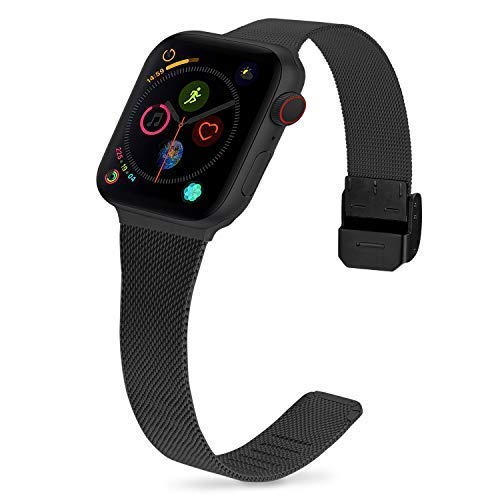 Fullmosa Kompatibel Apple Watch Armband 42mm Series5,44mm Series Metallarmbänder mit Displayschutzfolie, Für Apple Watch SE/6/5/4/3/2/1, iwath Armband Damen Herren, 42mm Schwarz