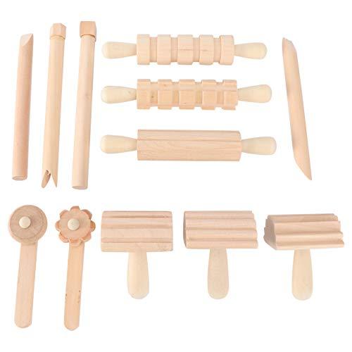 TOYANDONA - Juego de arcilla de madera y pasta texturizada, rodillos de repostería de madera, sellos de arcilla para niños, artesanía, arcilla, regalo de cumpleaños de Navidad