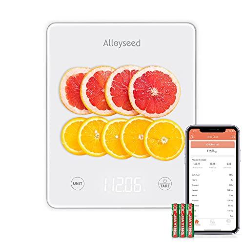 Alloyseed Bilancia da Cucina Bluetooth APP 5Kg 11lbs Digitale Bilancia Elettronica da Cucina Nutrizionale Professionale per Alimenti di Precisione Vetro Temperato Display LCD, 3 Batteries Incluse