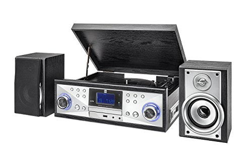 Dual NR 110 Compacte installatie met platenspeler (CD-speler, MP3, PLL-FM-radio, riemaandrijving, 20 zenderopslagplaatsen, directe encoding, 3,5 mmm) zwart