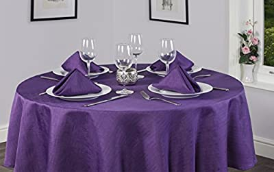 Linen Look Soft Feel Easycare Plain Polyester Slubbed Purple 52in x 90in (132cm x 228cm) Oblong (Rectanglular) Christmas Tablecloth And 4 Napkin Set. Ideal For 4-6 Place Settings. All Sizes Approximate
