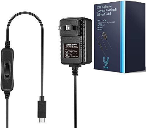 Vilros Raspberry Pi 4 & 400 Compatible Power Supply (USB-C) with on/Off Switch