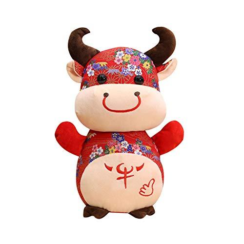 Ochsenplüsch Kuh Kuscheltier Plüschtier 2021 Chinesisches Neujahr Sternzeichen Maskottchen Puppe Rot Glücklich Weiches Vieh Plüschtier Home Dekorationen Geschenk für Kinder Erwachsene