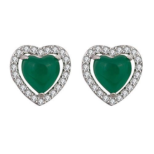Jingmeizi - Pendientes de tuerca para mujer, diseño de peridoto verde y circonita cúbica blanca