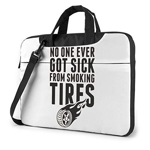 Laptop-Umhängetasche Niemand wurde jemals krank Fron Smoking Tyres Laptop-Umhängetasche mit Griff Tragetasche, 15,6 Zoll