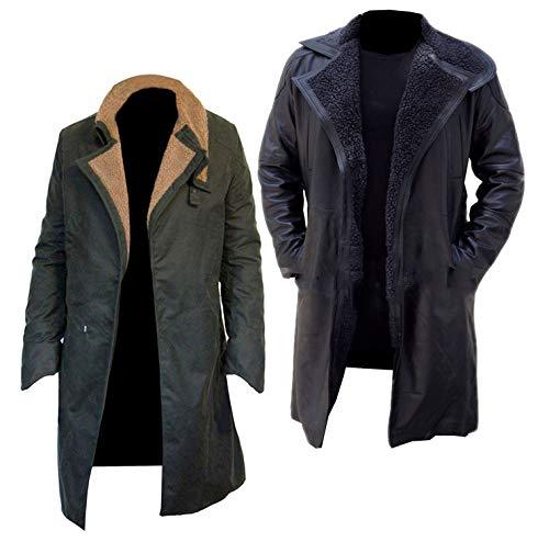 Dunhill Leather Herren, Damen Blade Runner 2049 Ryan Gosling Waxed Cotton Dunkelgrüner Mantel -XL
