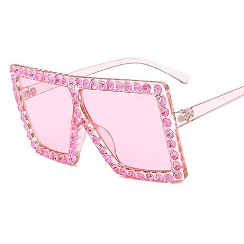 QFSLR Gafas De Sol, Gafas De Sol De Moda para Mujer con Montura Grande De Diamantes De Imitación, Protección 100% UV,L