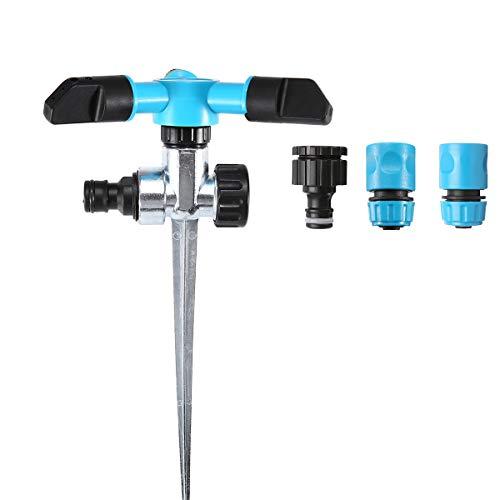 KING DO WAY スプリンクラー 自動散水器 360度回転 散水範囲:2~10m 角度・範囲調整可 ガーデン 芝生 庭木灌漑 散水用具 蛇口コネクタ付 (差し込み式, 水色)