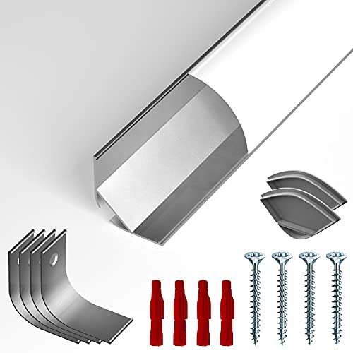 LED Eckprofil NITO von alupona® | 1 x 2 Meter | Eloxiert | milchige Abdeckung | Innenecke | Winkelleiste | Aufbauprofil für LED Beleuchtung | Strip bis 20 mm Breite