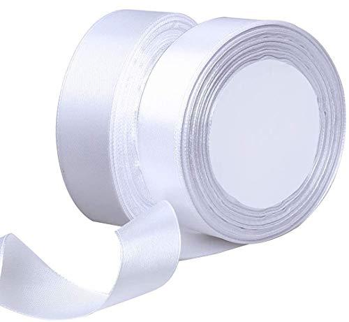 Generies 2 Rotoli Nastro Raso 25mm Nastro di Poliestere Bianco Nastro per Bomboniere Matrimonio Compleanno Battesimo Regalo Fiore Palloncini Fiocco Bacchetta Cerimonia Artigianato Fai da Te Bianco