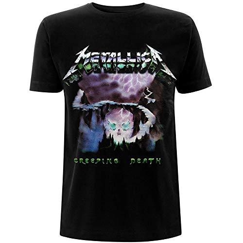 Metallica Creeping Death_Men_bl_TS: L Camiseta, Negro (Black Black), Large para Hombre