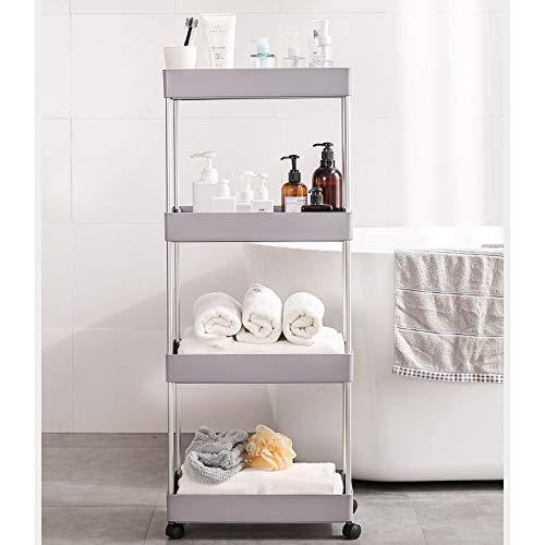 Carrito de cocina de 4 capas, cocina de almacenamiento, carro de artesanía, carrito multiusos, carrito con ruedas, ahorro de espacio, fácil de instalar, para cuarto de baño, cocina y oficina (color B)