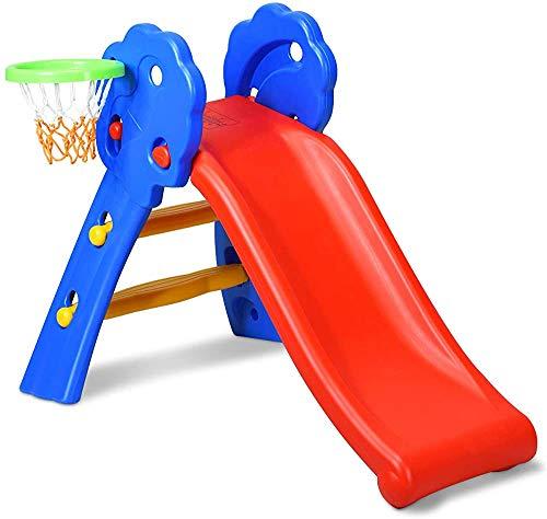 Rutschbähne mit Basketballkorb, geeignet für die Innen- und Außenbereich Garten Park House,Red