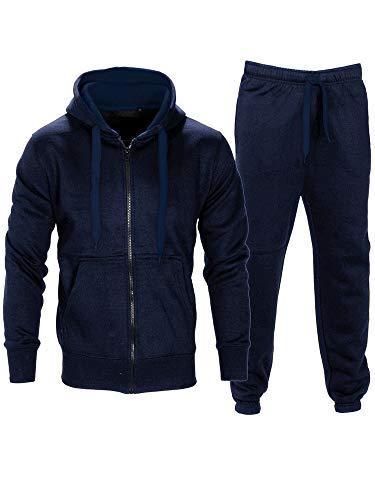 Love My Fashions Mens Tracksuit Set Kids Contrast Cord Fleece Hoodie Top Bottoms Jogging Zip Joggers Gym Causal Exercise Running Sport Sweat Suit Pants Plus Size S M L XL XXL Navy Blue