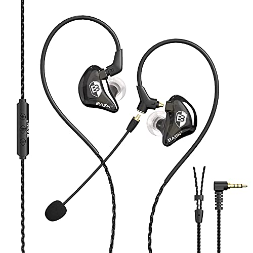 BASN GC90 Gaming Earbuds Wired with Dual Microphone, Ergonomic in-Ear Gaming Headset Headphones with Noise Cancellation, Detachable MMCX Cable Earphones (Black)