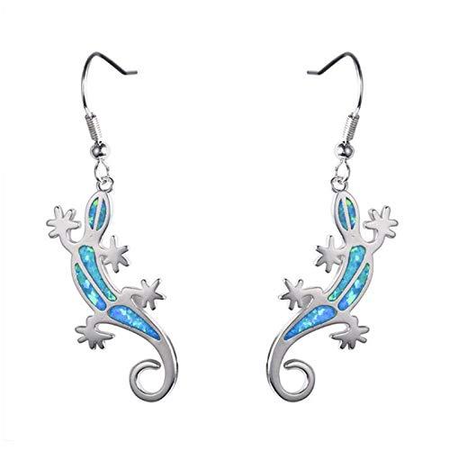 U/K Gemstone Hook Earrings White/Blue Girl Sterling Silver Created Long Earrings Platinum Plating Women Gift (Color : 1)