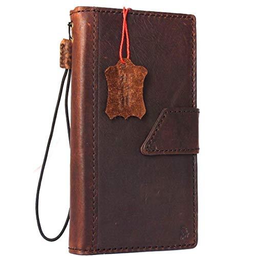 Genuine Natural Dark Leather Case for iPhone SE2 2020 Book Wallet Magnetic Closure Cover Handmade Holder Cards Slots Luxury Slim Retro SE 2 DavisCase