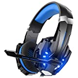 DIZA100 Kotion Each G9000 Gaming Headset Headphone 3.5mm Stereo Jack with Mic LED Light for Xbox One S/Xbox one/PS4/Tablet/Laptop/Cell Phone (Blue.)
