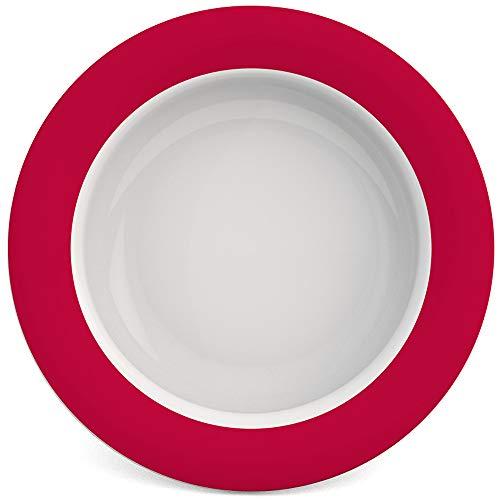Ornamin Schale mit Kipp-Trick Ø 15,5 cm rot | Spezialteller mit Randerhöhung für selbstständiges Essen | Esshilfe, Melamin, Anti-Rutsch Schale, Tellerranderhöhung
