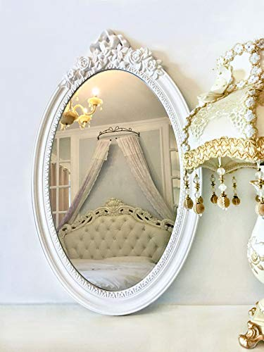Basswood Hunters 25'x 16' Large Oval Vintage Decorative Wall Mirror, White Wooden Crown Frame, Antique Princess Decor for Bedroom,Playroom,Dressers,Living Room