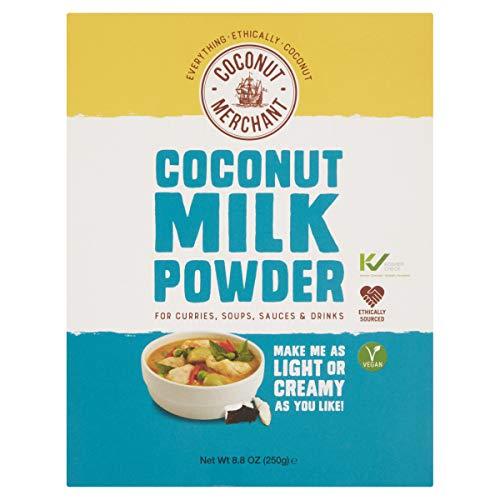 250g Coconut Merchant Latte di cocco in polvere Alternativa vegana al latte in polvere | per curry, zuppe, salse, frullati e bevande | Vegano | Approvvigionamento etico | Bevilo, aggiungilo, mescola