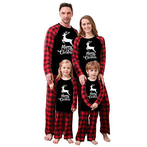 WESIDOM Christmas Family Pajamas Matching Sets,Classic Plaid Xmas Clothes Soft Outfit Sleepwear