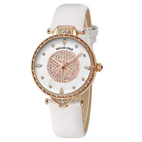 Anillo de Diamantes con Purpurina Wordface Cinturón de Cuero Reloj de Cuarzo Reloj Simple Reloj Impermeable Reloj de Pulsera Informal para Hombres y Mujeres (Multicolor)