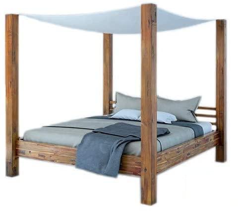 SAM Himmelbett 180x200 cm Ella, Natur-Holzbett aus Akazienholz inkl. Stoffhimmel, massives Doppelbett, romantischer Landhausstil, jedes Bett EIN pflegeleichtes Unikat