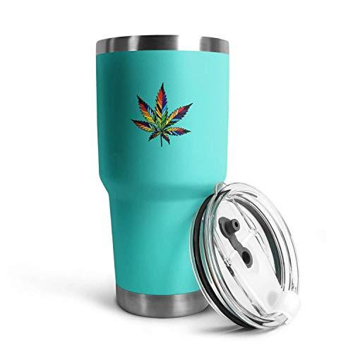Isolated Rainbow Marijuana Leaf Weed Cannabis30oz Stainless Steel Camping and Travel Flat-Bottomed Mug, with Splash…