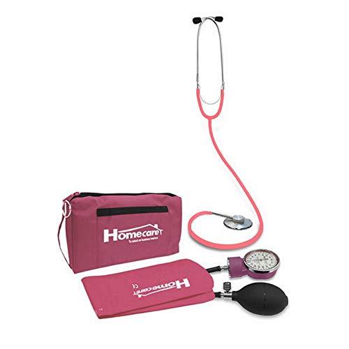 Homecare | Kit Baumanómetro con Estetoscopio Simplex Rosa | 100% Preciso con Estuche Portátil