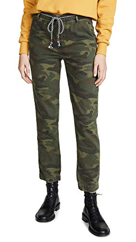 SUNDRY Women's Camo Clean Straight Trousers, Spruce, Green, Print, 26