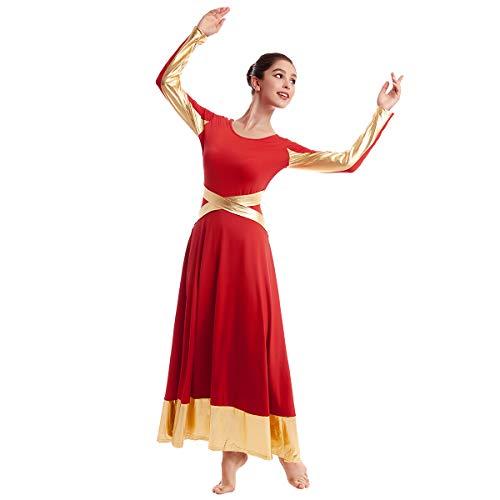 OBEEII Maillots de Danza para Mujer Ballet Litúrgico Alabanza Adoración Danza Adulto Disfraz Elegante Manga Larga Metálico Patchwork Bailarina Actuación Fiesta Gimnasia Carnaval Traje Rojo S