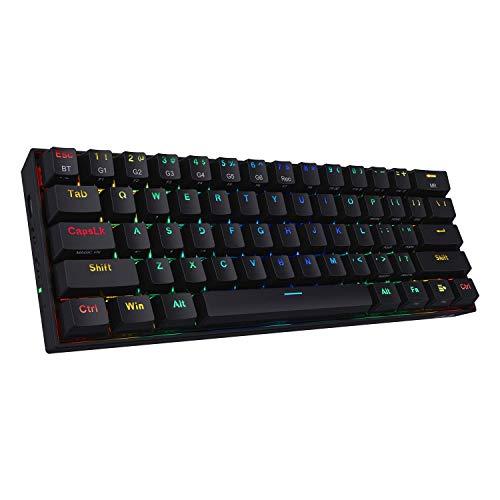 Redragon K530 Draconic Tastiera meccanica wireless RGB compatta al 60%, 61 tasti Tastiera da gioco Bluetooth 5.0 progettata da TKL con interruttori marroni e 16,8 milioni di luci RGB per PC, laptop