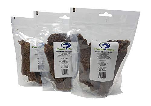 Food4Pets 3 x 250g Fleischstreifen für Hunde aus Hirschfleisch - im wiederverschließbaren Beutel