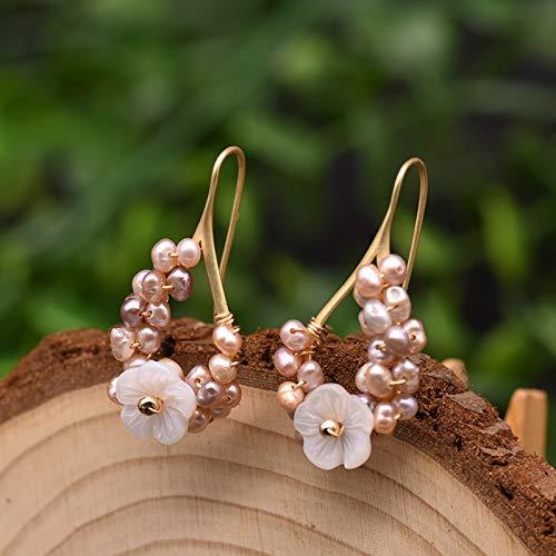 SALAN Pendientes Colgantes De Perlas Pequeñas Moradas Naturales para Mujer, Joyería De Lujo, Pendientes Hechos A Mano con Forma De Flor