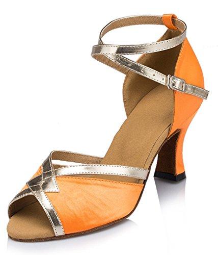 Honeystore Damen's Starke Ferse Knöchelriemen Tanzschuhe Orange 38 EU