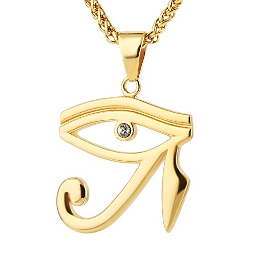 HZMAN CZ Eye of Horus Egypt Protection Pendant on Stainless Steel Necklace (Gold)