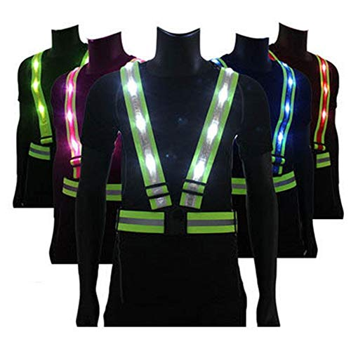 Sicherheitsweste LED Leuchtweste USB-Lade Warnung Gurt im Freiennachtlaufzubehör Reitverkehrssicherheit BAU Leuchtbekleidung für Verkehrsindustrie Nacht Aktivitäten (Color : White, Size : One Size)