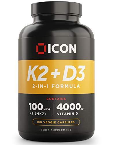 Vitamin D3 4000 iu + K2 (2-in-1 Formula), 180 Veggie Capsules, 6 Month Supply