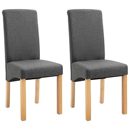 vidaXL 2X Esszimmerstuhl Esszimmerstühle Sitzgruppe Hochlehner Stuhl Stühle Küchenstuhl Polsterstuhl Lehnstuhl Essstuhl Stuhlgruppe Grau Stoff