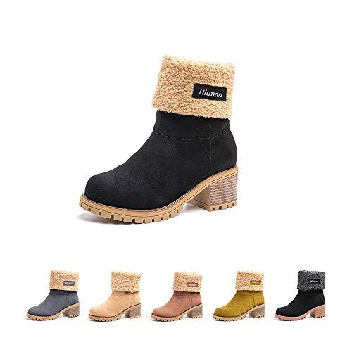 Botas Mujer Invierno Forradas Cálidas Botines Ante Plataforma Zapatos Nieve Cómodos Casual Negro EU 35 (Ropa)