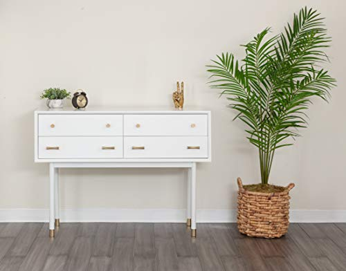 White Console Table with 4 Drawers, Slim Sofa Table, Vanity, Modern Storage for Entryway, Hallway