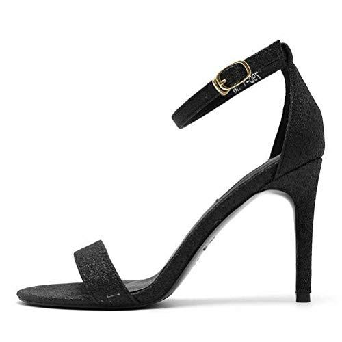 Women Sandals Bout Pointu Sandales à Talons Superbes à Bouts Pointus Talon Aiguille Polyvalent de la Mode Estivale, Black, 37