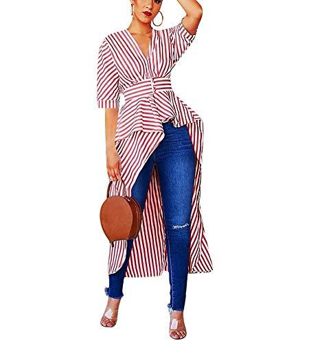 IyMoo Woman Sexy Bodycon Dress - Shirtdress for Women Shift Striped Dress Tunic Tops Short Sleeve Blouse Tops High Low Asymmetrical Irregular Hem Long Shirt Tunic Tops Red