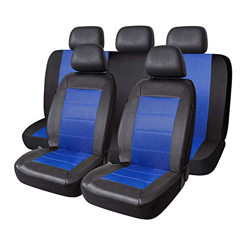 PIC AUTO Mesh and Leather Car Seat Covers Full Set Universal Fit 9PCS(Blue)