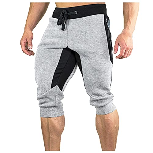Pantalones cortos de exterior para hombre, para deportes de ocio, running, running, pantalones de deporte gris XL