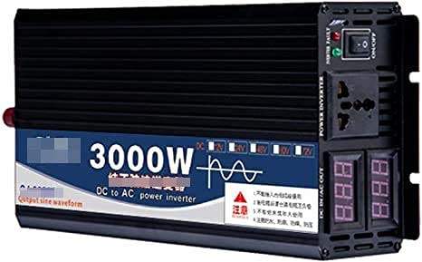 Inversor de corriente de onda sinusoidal pura de 3000 W Inversores de corriente CC 12 V / 24 V 48 V / 60 V a CA 110 V / 220 V Inversor de corriente de alta eficiencia con 1 toma universal y pantalla