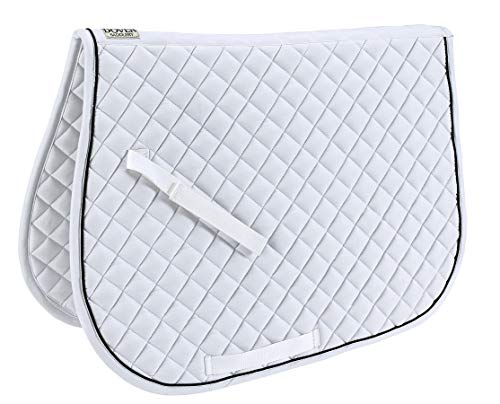 Dover Saddlery Quilted All-Purpose Piped Saddle Pad, A/P, White/Black/White