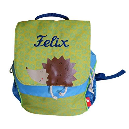 Sigikid Kinder Rucksack Igel mit Namen bestickt grün blau 28 cm x 16 cm x 24 cm für Kindergarten Kita