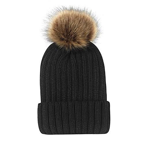 Muts eenkleurig wintercaps vrouwen pompoms gebreide hoed vrouwelijke skihoed voor meisjes mode plain beanies voor dames warme haakjes hoed